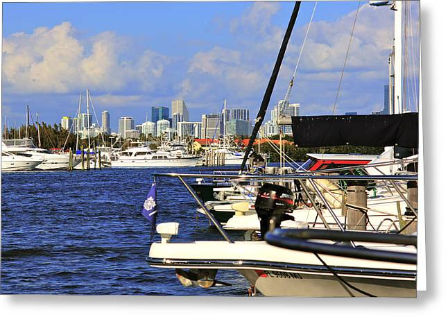 Boats And Miami Greeting Card by Dieter  Lesche