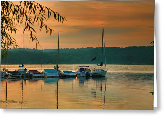 Boats At Sunrise Greeting Card by Steven Ainsworth
