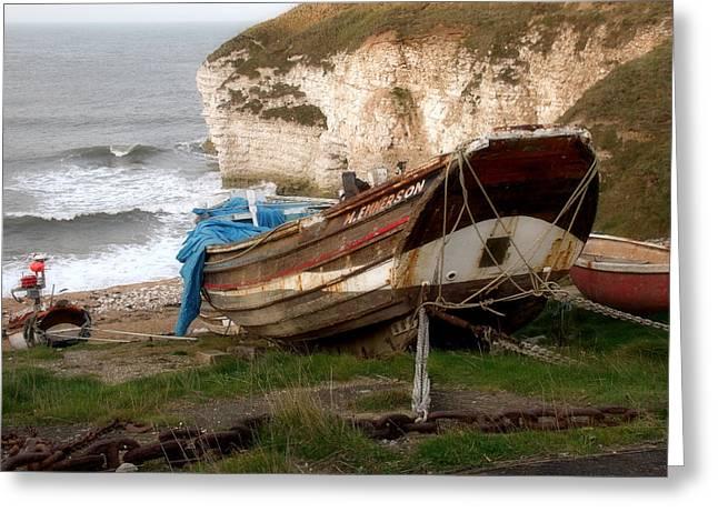 Boats At Thornwick Bay Greeting Card