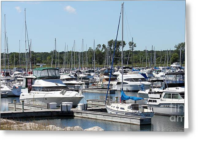 Greeting Card featuring the photograph Boats At Winthrop Harbor by Debbie Hart