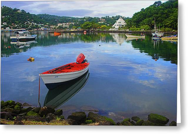 Greeting Card featuring the photograph Boats-castries Harbor- St Lucia by Chester Williams