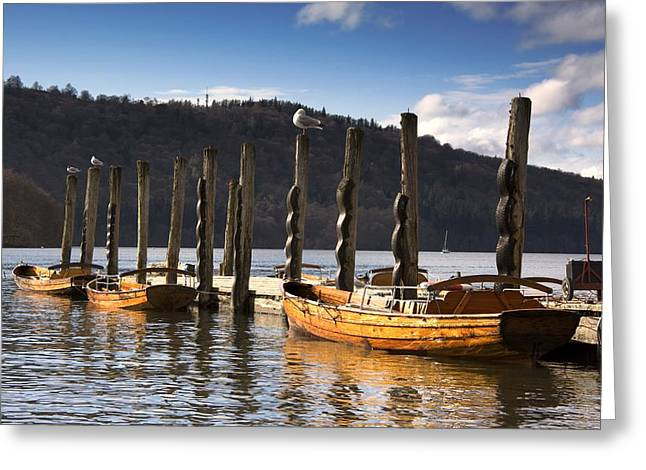 Boats Docked On A Pier, Keswick Greeting Card by John Short