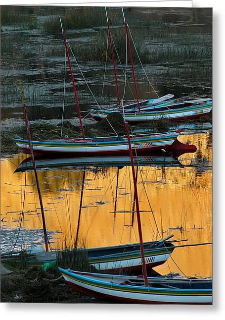 Boats In A Harbor. Republic Of Bolivia. Greeting Card by Eric Bauer