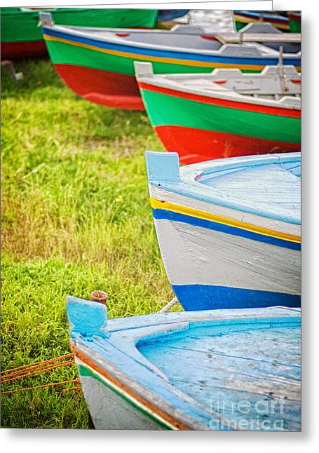 Boats In A Row II Greeting Card by Silvia Ganora