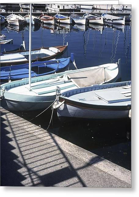 Boats In Harbor Greeting Card by Axiom Photographic