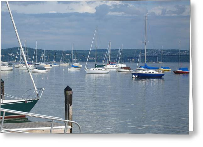 Boats In Hudson River On A Suny Sunday Greeting Card by Viola El