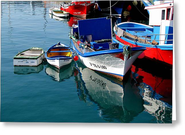 Greeting Card featuring the photograph Boats In Los Christianos by Barbara Walsh