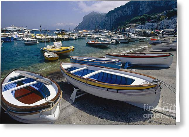 Boats In Marina Grande Greeting Card by George Oze