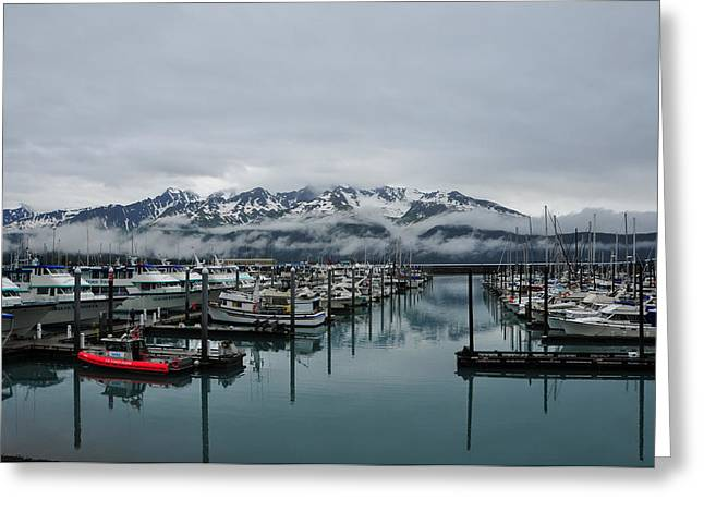 Boats In Marina With Snow Capped Greeting Card by Jorge Fajl