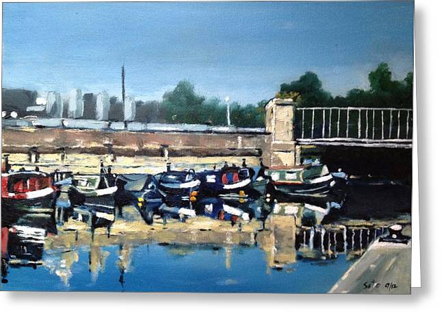 Boats Of Regent's Canal  London Uk Greeting Card by Victor SOTO
