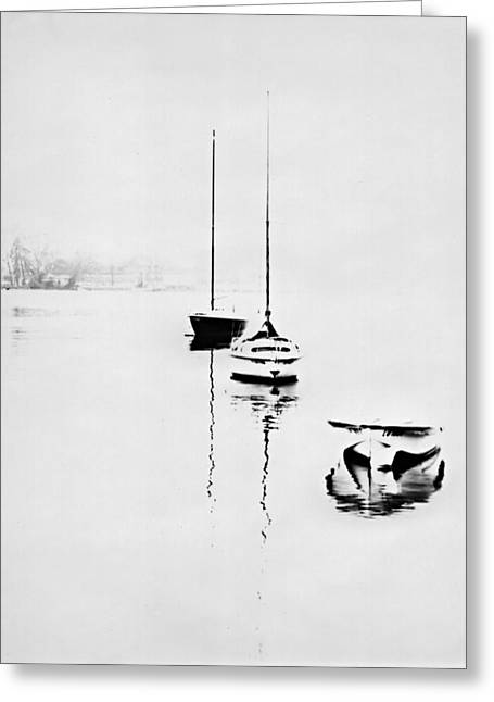 Boats On Foggy Lake Lucerne Greeting Card