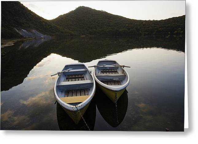 Boats On Lake-filled Katanuma Crater Greeting Card by Michael S. Yamashita
