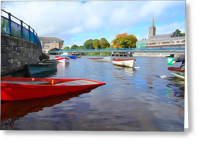 Greeting Card featuring the photograph Boats On The Garavogue by Charlie and Norma Brock
