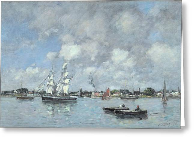 Boats On The Garonne Greeting Card by Eugene Boudin