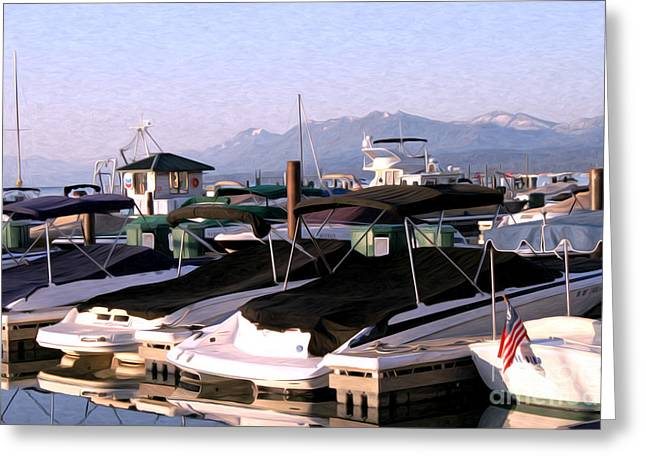 Boats On The Lake Greeting Card by Anne Raczkowski