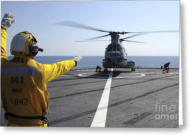 Boatswain's Mate Directs A Ch-46 Sea Greeting Card by Stocktrek Images