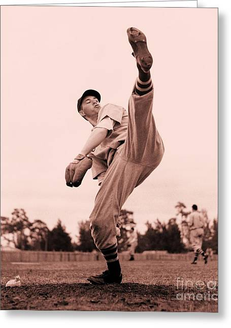 Bob Feller Greeting Card by Roberto Prusso