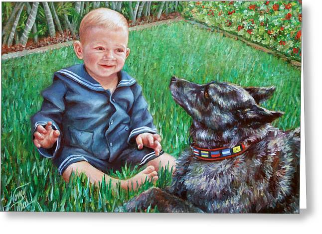 Greeting Card featuring the painting Bobby And Cinder by Nancy Tilles