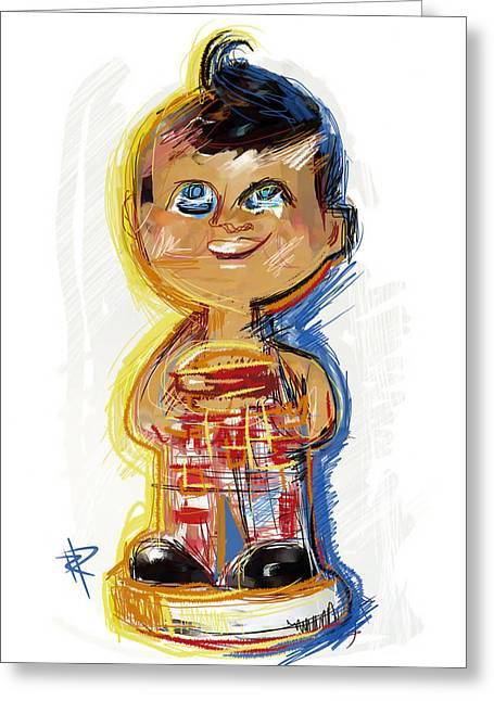 Bob's Big Boy Bobble Head Greeting Card by Russell Pierce