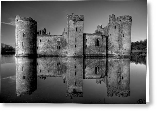 Bodiam Castle In Mono Greeting Card by Mark Leader