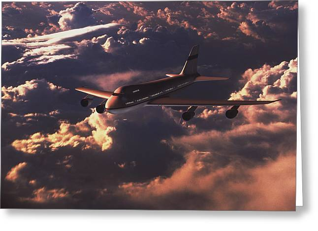 Boeing 747 Greeting Card by Mike Miller