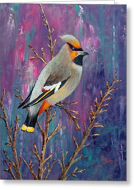 Bohemian Waxwing Greeting Card by Dee Carpenter
