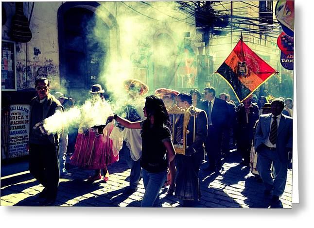 Bolivia Celebrations   Greeting Card by Jade Sayers