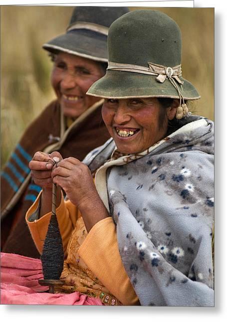 Bolivian Women Knitting. Republic Of Bolivia.  Greeting Card