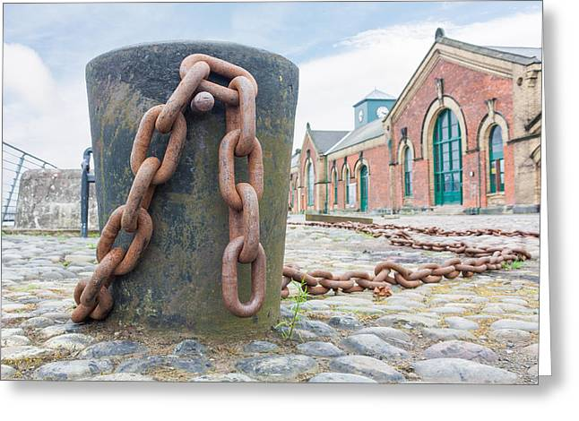 Bollard And Chain Greeting Card by Semmick Photo