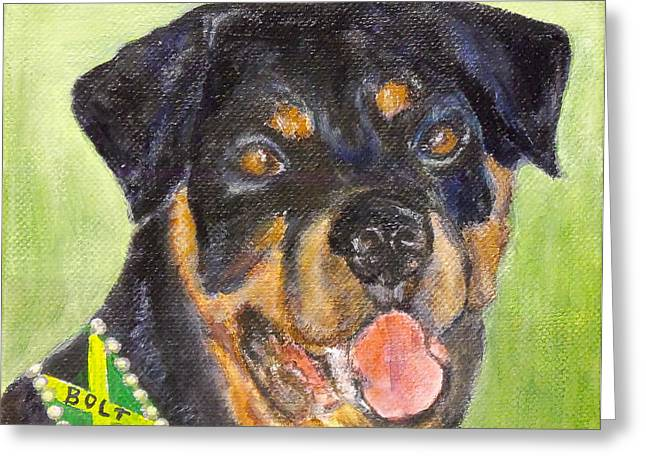 Bolt The Rottreiler Greeting Card by Maureen Pisano