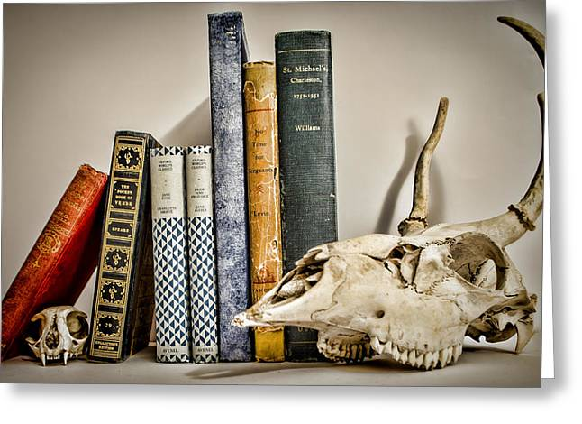 Books And Bones Greeting Card by Heather Applegate