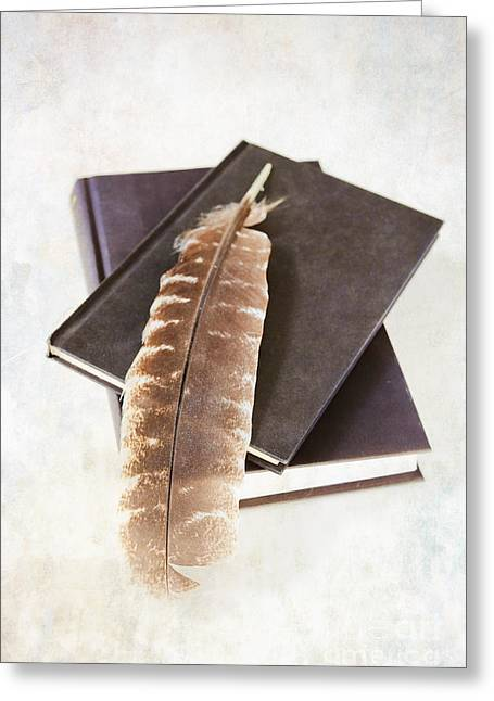 Books And Feather Greeting Card by HD Connelly