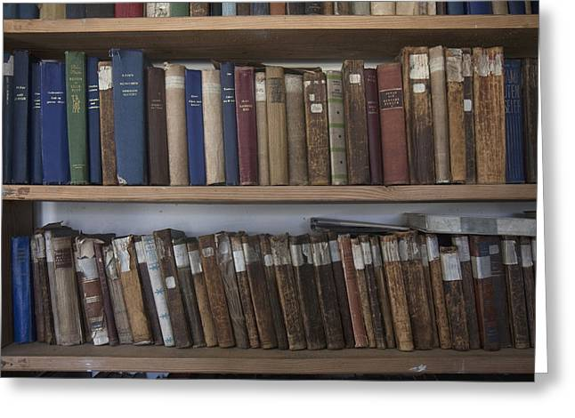 Books Line Shelves In The Library Greeting Card