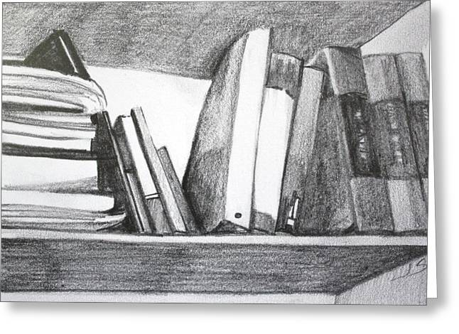 Books On A Shelf Greeting Card by Jan Swaren