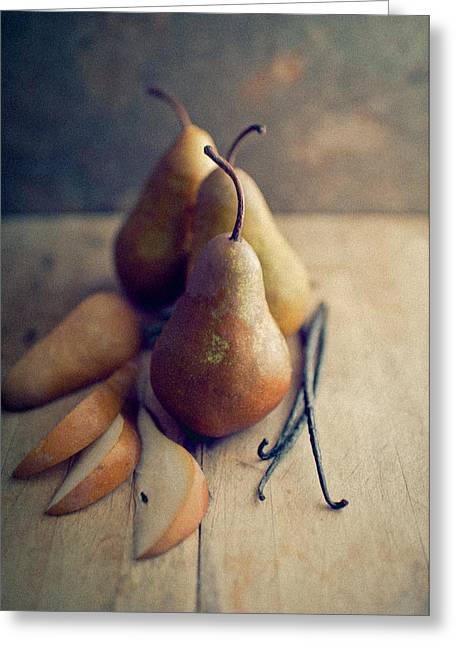Bosc Pears And Vanilla Beans Greeting Card by Anna Hoychuk