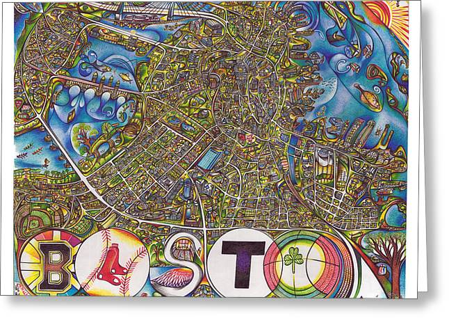 Boston Art Map Greeting Card by Jonathan 'DiNo' DiNapoli