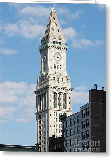 Boston Custom House Tower Greeting Card by Clarence Holmes