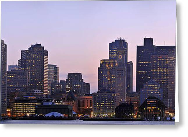 Boston Skyline At Sunset Greeting Card