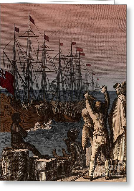 Boston Tea Party, 1773 Greeting Card by Photo Researchers