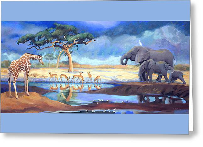 Botswana Watering Hole Greeting Card