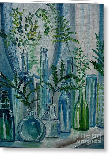 Greeting Card featuring the painting Bottle Brigade by Julie Brugh Riffey