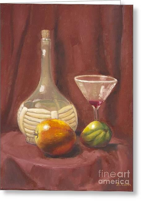 Bottle Glass And Fruits Greeting Card by Bruce Lum