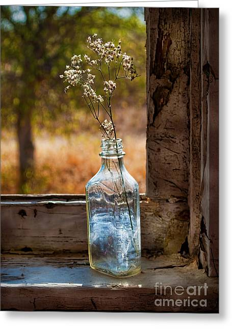 Bottle On Window Sill Greeting Card