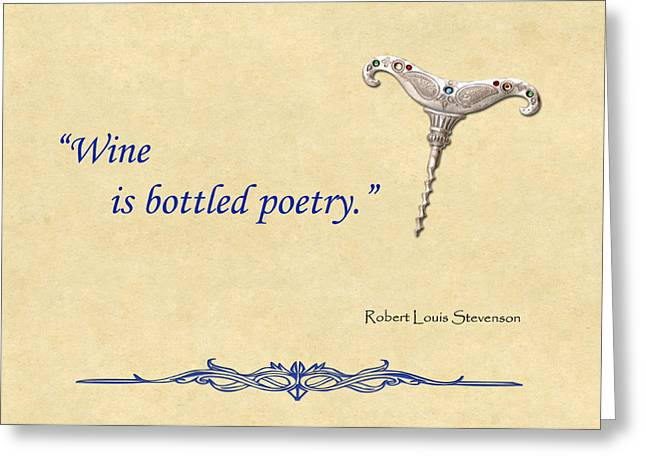 Bottled Poetry Greeting Card by Elaine Plesser