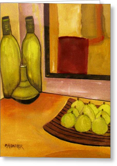 Bottles And Pears No 1. Greeting Card by Mary ann Barker