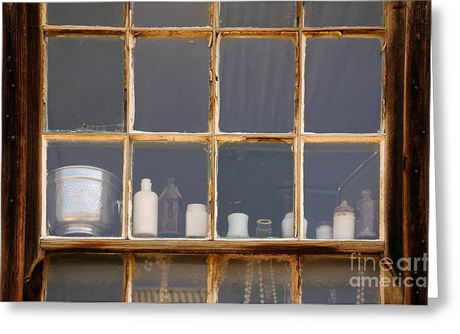 Bottles In The Window Greeting Card by Vivian Christopher