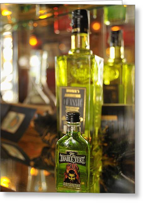 Bottles With Absinthe In Bar Greeting Card by Matthias Hauser