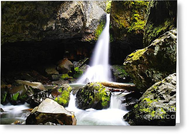 Boulder Cave Falls Revisited Greeting Card by Jeff Swan