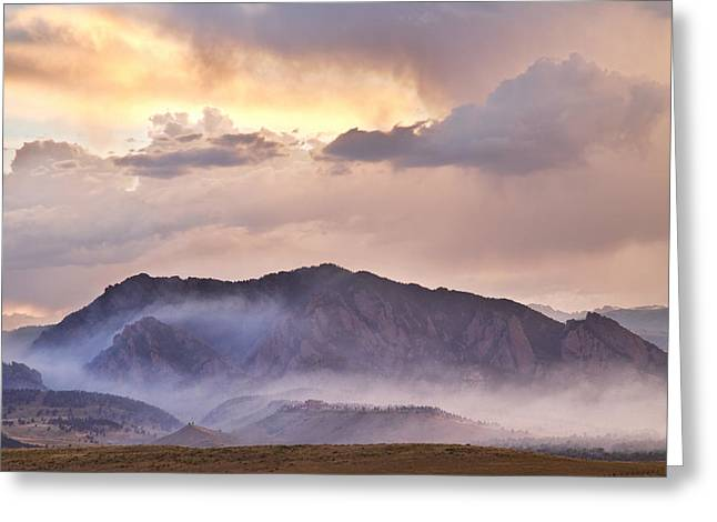 Boulder Colorado Flatirons And The Flagstaff Fire Greeting Card