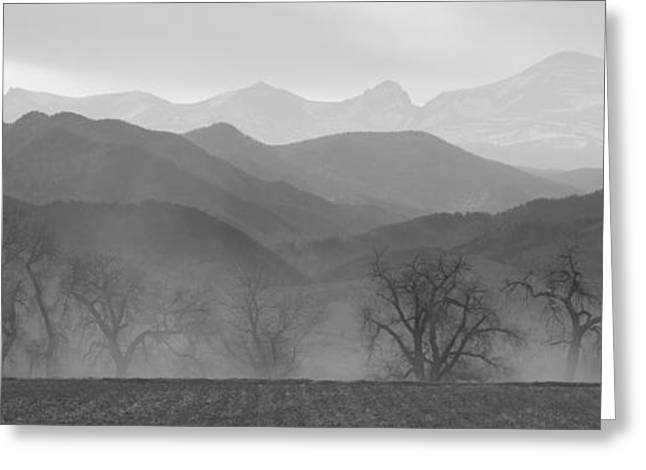 Boulder County Colorado Layers Panorama Bw Greeting Card